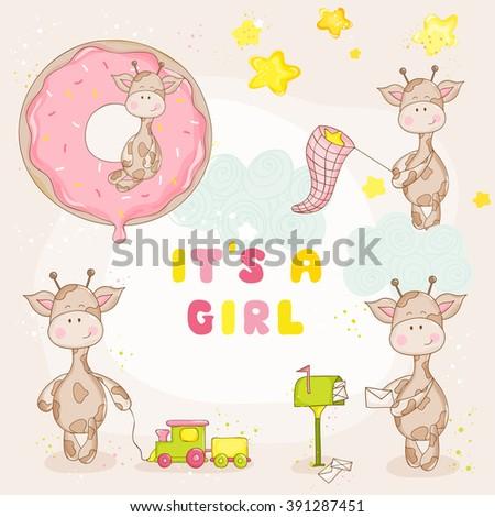 Baby Girl Giraffe Set - Baby Shower or Arrival Card - in vector - stock vector