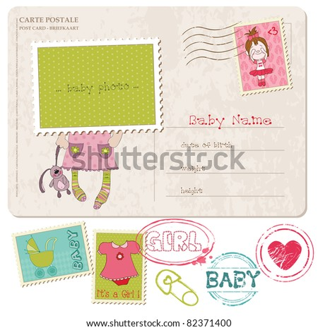 Baby Girl Greeting Postcard with place for your photo and text- and set of stamps - stock vector