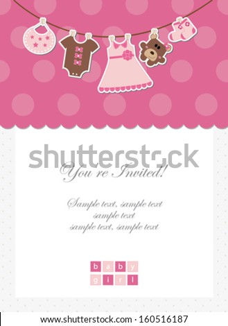 Baby girl invitation baby shower card stock vector 160516187 baby girl invitation baby shower card stopboris Image collections