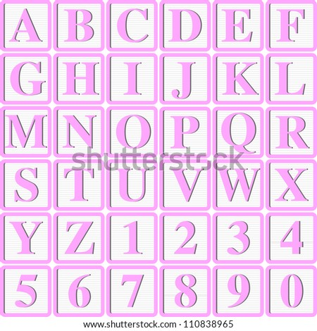 Baby Girl Pink Block letters for Invitations, Cards or Announcements - stock vector