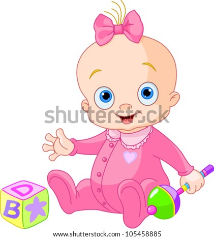 Baby Girl  playing with rattle - stock vector