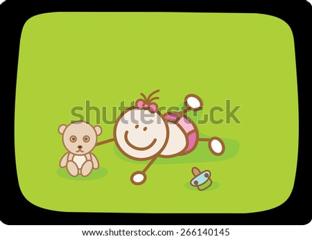 baby girl playing with teddy bear - stock vector