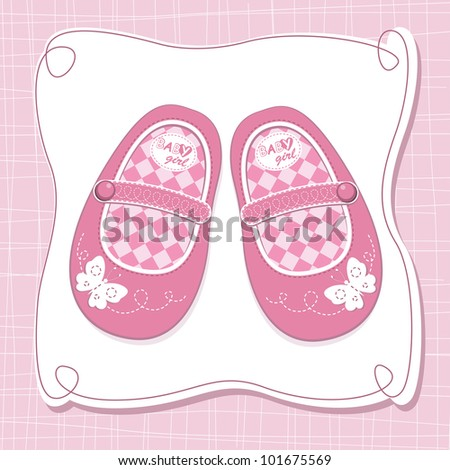 Baby girl shoes arrival card - stock vector