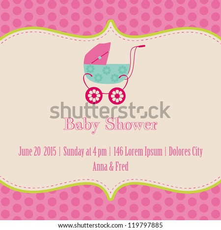 Baby Girl Shower and Arrival Card - with place for your text in vector - stock vector