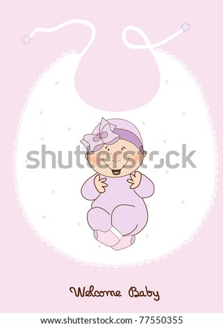 baby girl shower announcement - stock vector