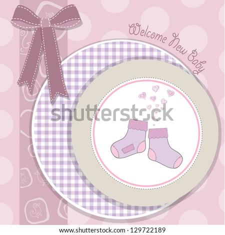 baby girl shower announcement card in vector format - stock vector