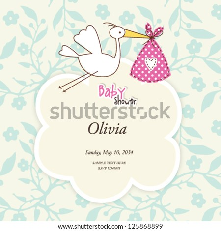 baby girl shower card cute invitation with stork doodle - stock vector