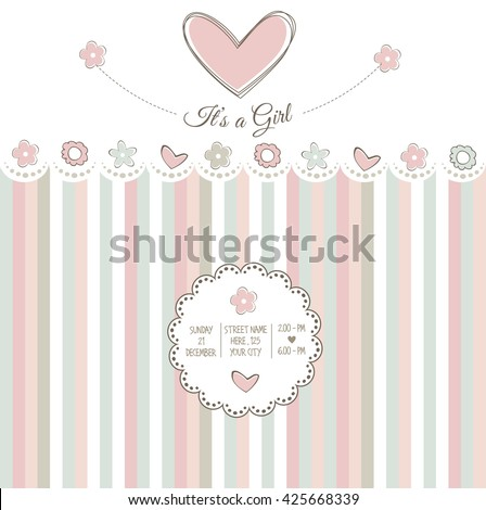 baby girl shower card, vector illustration - stock vector