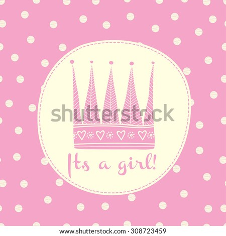 Baby girl shower card with crown and frame for your text - stock vector