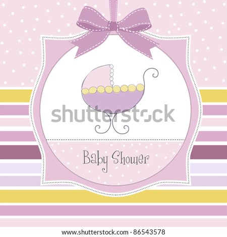 baby girl shower card with cute pram - stock vector