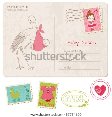 Baby Girl Shower Card with set of stamps - stock vector