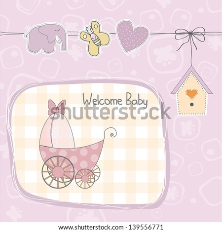 baby girl shower card with stroller, illustration in vector format - stock vector