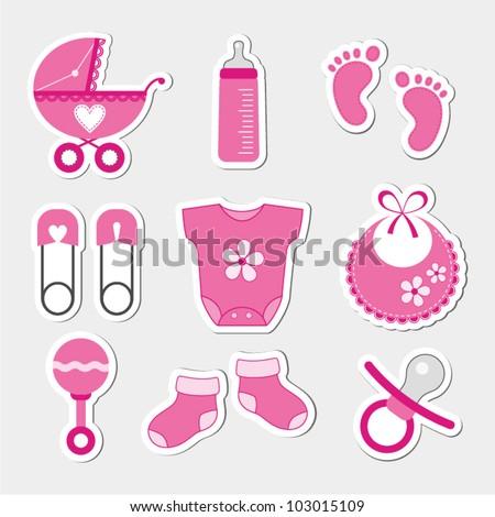 Baby girl shower design icons - stock vector