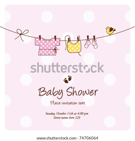 baby girl shower invitation card baby background with copy space - stock vector
