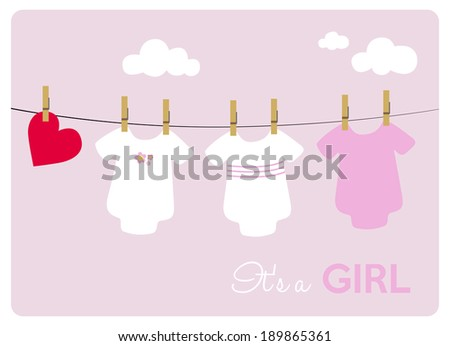baby girl shower invitation card, baby bodysuits on light pink background - stock vector