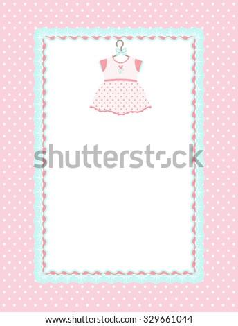 Baby girl shower invitation card dress stock vector 329661044 baby girl shower invitation card with dress stopboris Choice Image