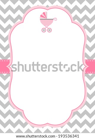 Baby Girl Shower Invitation Template Baby Stock Vector 193536341 ...
