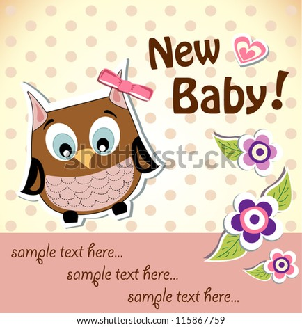 Baby girl shower owl card - stock vector