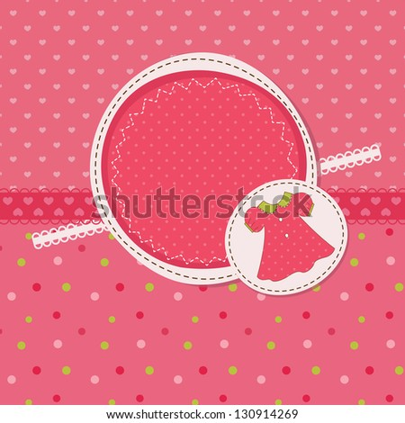 Baby girl shower with dress - stock vector