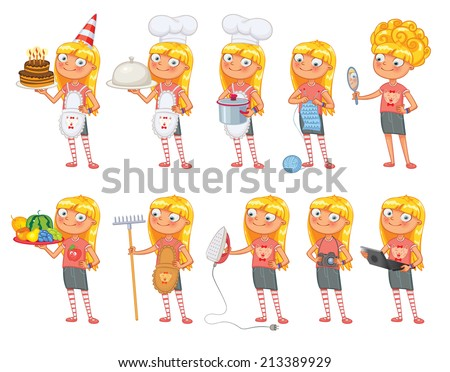 Baby girl stands in same pose and holds a various objects. Parts of body template for design work and animation. Funny cartoon character. Vector illustration. Isolated on white background. Set - stock vector