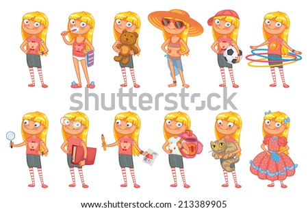 Baby girl stands in similar pose and holds a various objects. Set of different elements for design work and animation. Funny cartoon character. Vector illustration. Isolated on white background - stock vector