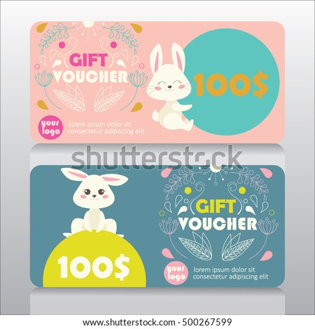 Good voucher stock images royalty free images vectors baby goods or kids store gift voucher template with cute bunny and floral design vector negle Images