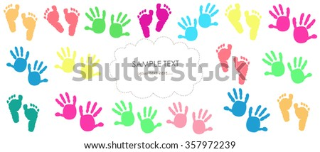 Baby hand and footprints, colorful vector greeting card