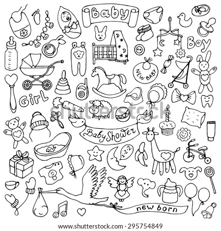 Baby hand drawn doodle set. Vector  illustration for backgrounds, web design, design elements, textile prints, covers - stock vector