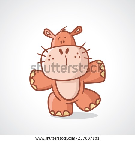 Baby hippo cartoon character - vector illustration