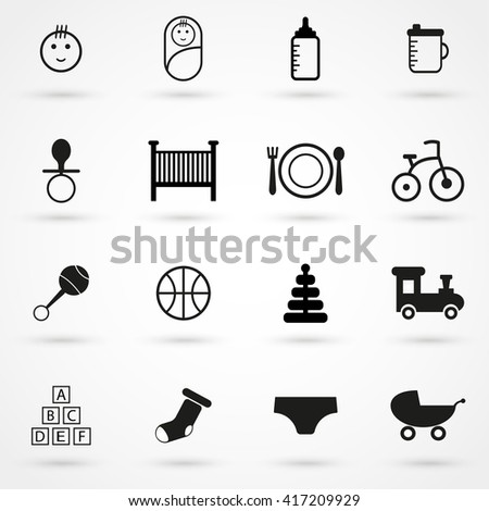 baby icon set isolated on background. Modern flat pictogram, business, marketing, internet concept. Trendy Simple vector symbol for web site design or button to mobile app. Logo illustration - stock vector
