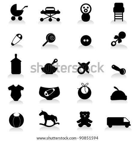 baby icons for baby, newborn, birthday and celebration - stock vector