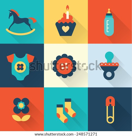 Baby icons - girl - stock vector