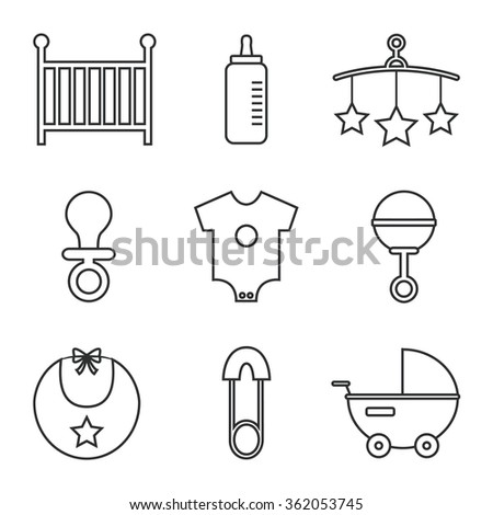 Baby icons isolated on white background. Cot, baby bottle, toys, clothes, rattle, baby pin, baby carriage, bib, soother. Baby icons set. Flat line style vector illustration.  - stock vector