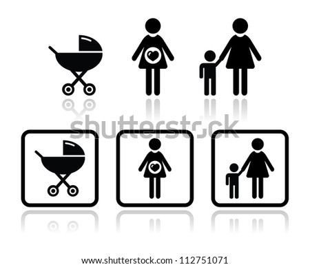 Baby icons set - carriage, pregnant woman, family - stock vector