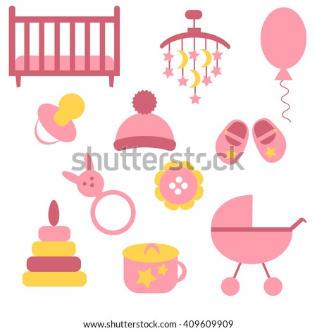 Baby icons set. Colorful vector illustration. Flat design. Icons collection for baby girl: toy, hat, buggy, ball, potty, shoes, button, pyramid, soother, bed.  - stock vector