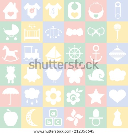 Baby icons set. For cards, invitations, wedding or baby shower albums, backgrounds, arts and scrapbooks. Vector illustration
