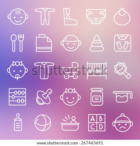 Baby icons set in thin line style. White lines on blurred background - stock vector