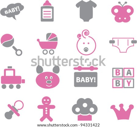 baby icons set, vector - stock vector