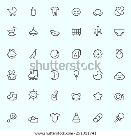 Baby icons, simple and thin line design - stock vector
