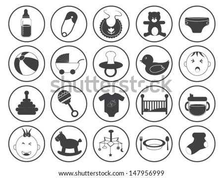 Baby Icons Vector Collection - stock vector