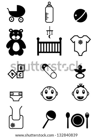 baby icons, vector illustration - stock vector