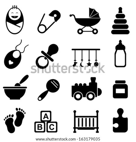 Baby, infant and birth icon set - stock vector