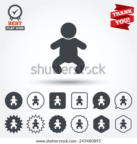Baby infant sign icon. Toddler boy in pajamas or crawlers body symbol. Child WC toilet. Circle, star, speech bubble and square buttons. Award medal with check mark. Thank you ribbon. Vector - stock vector