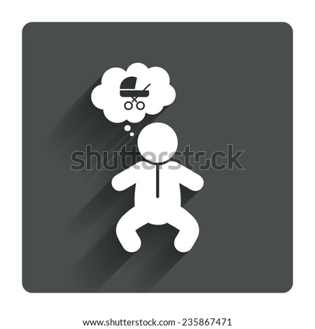 Baby infant think about buggy sign icon. Toddler boy in pajamas or crawlers body symbol. Gray flat square button with shadow. Modern UI website navigation. Vector - stock vector