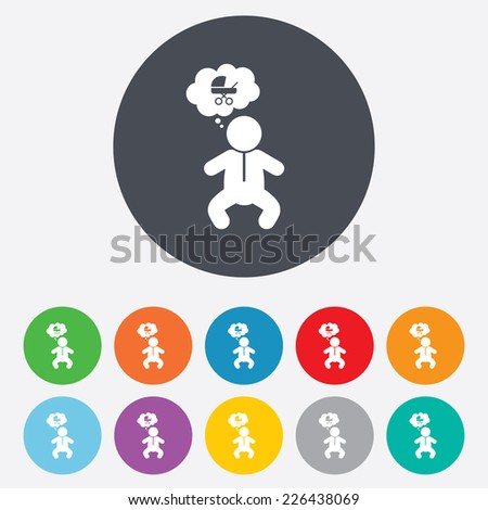Baby infant think about buggy sign icon. Toddler boy in pajamas or crawlers body symbol. Round colourful 11 buttons. Vector - stock vector