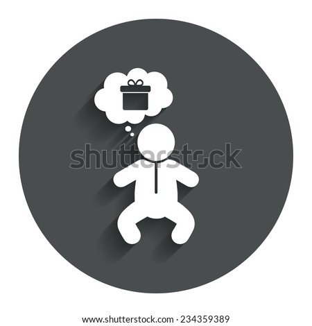 Baby infant think about gift box sign icon. Toddler boy in pajamas or crawlers body symbol. Gray flat button with shadow. Modern UI website navigation. Vector - stock vector