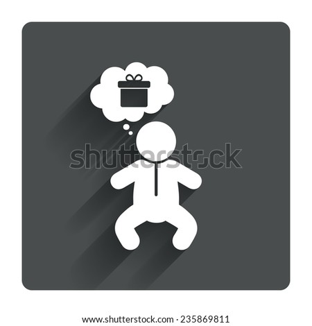 Baby infant think about gift box sign icon. Toddler boy in pajamas or crawlers body symbol. Gray flat square button with shadow. Modern UI website navigation. Vector - stock vector
