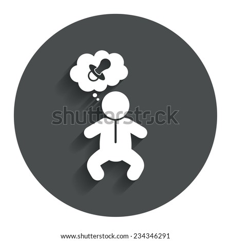 Baby infant think about pacifier nipple sign icon. Toddler boy in pajamas or crawlers body symbol. Gray flat button with shadow. Modern UI website navigation. Vector - stock vector