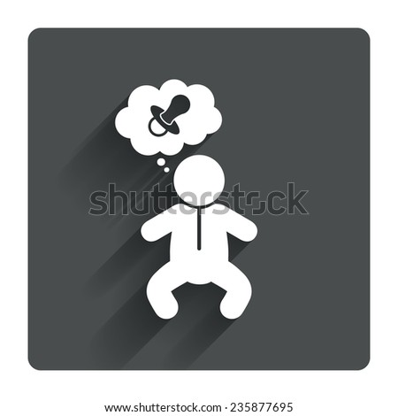 Baby infant think about pacifier nipple sign icon. Toddler boy in pajamas or crawlers body symbol. Gray flat square button with shadow. Modern UI website navigation. Vector - stock vector