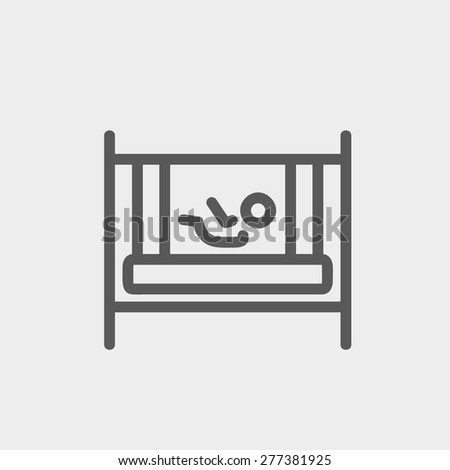 Baby inside the crib icon thin line for web and mobile, modern minimalistic flat design. Vector dark grey icon on light grey background. - stock vector